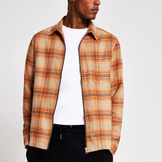 River Island Mens Orange Check zip front overshirt jacket