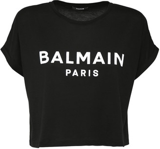 Balmain Flocked Logo Cotton Jersey Crop Top