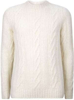Eleventy Cashmere-Alpaca Cable-Knit Sweater