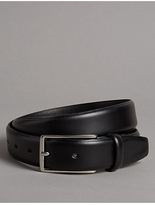 Autograph Leather Gunmetal Rectangular Buckle Belt