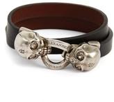 Alexander McQueen Women's Twin Skull Double Wrap Leather Bracelet