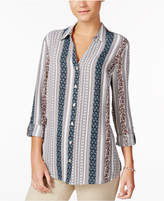 Charter Club Petite Mixed-Print Blouse, Only at Macy's
