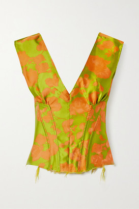 Marques Almeida Satin-trimmed Frayed Brocade Bustier Top - Chartreuse