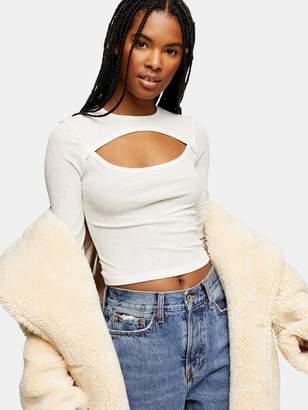 Topshop Cut Out Long Sleeve Top - Cream