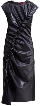 Sies Marjan Fleur Ruffled Lame Midi Dress - Navy