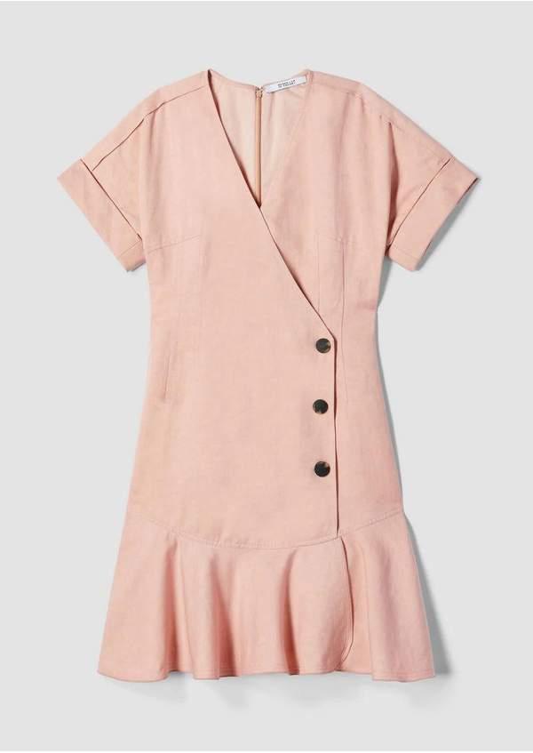 Derek Lam 10 Crosby Short Sleeve Drape Linen Wrap Dress With Pleated Hem