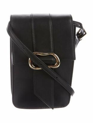 ADEAM Buckle Embellished Leather Crossbody Bag Black
