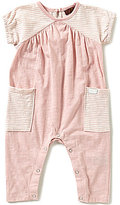 7 For All Mankind Baby Girls Newborn-9 Months Heathered Striped Short-Sleeve Coverall