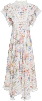 Zimmermann Lace-trimmed Fil Coupe Floral-print Cotton-gauze Midi Dress