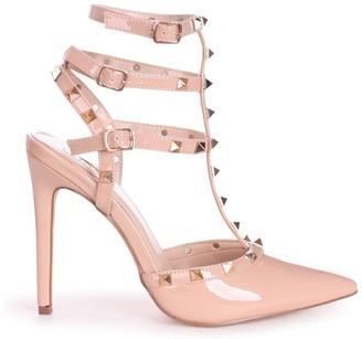 Linzi SO EXTRA - Nude Patent Gladiator Style Studded Court Heel