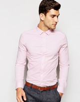 Asos Skinny Shirt With Long Sleeves In Pink