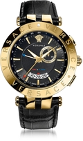 Versace V-Race GMT Alarm Black and PVD Gold Plated Men's Watch