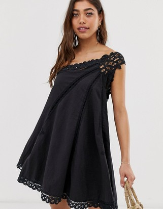 Free People Billie Battenburg asymmetric shift dress-Black