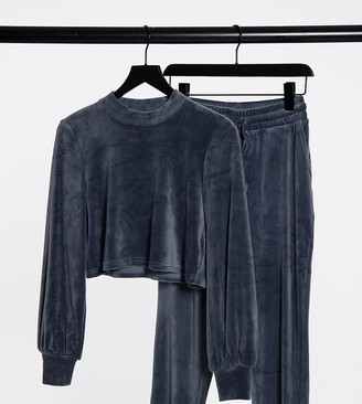 Noisy May Petite cropped velvet top co-ord in grey blue