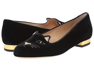 Charlotte Olympia Kitty Flats (Black/Gold Velvet/Metallic Calf) Women's Flat Shoes
