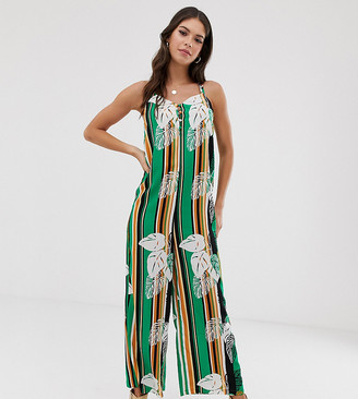 Glamorous Tall minimal cami jumpsuit in palm stripe print-Multi