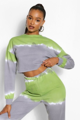boohoo Tall Tie Dye Cropped Sweat Top