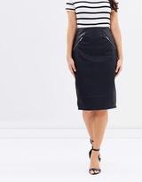 Zip Trim Midi Skirt
