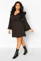 boohoo Plus Woven Ruffle Wide Sleeve Skater Dress