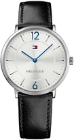 Tommy Hilfiger Slim Silver Watch With Black Leather Strap