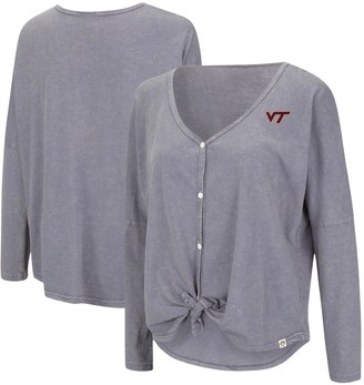 Colosseum Women's Gray Virginia Tech Hokies Charity Button-Up Tie-Front Long Sleeve Top
