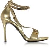 Roberto Cavalli Golden Laminated Leather High Heel Snake Sandals