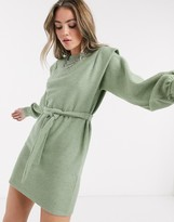 Bershka tie-waist shoulder detail sweater dress in sage green