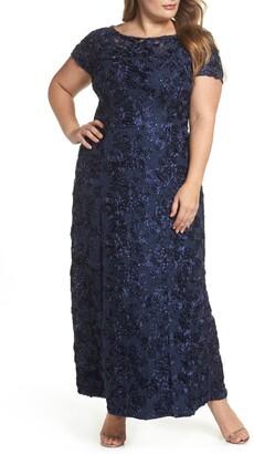 Alex Evenings Rosette Lace Short Sleeve A-Line Gown