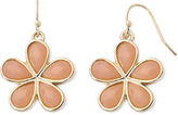 Liz Claiborne Peach Gold-Tone Drop Earrings