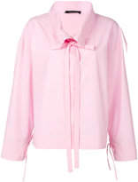 Cédric Charlier drawstring collar shirt - women - Cotton - 38