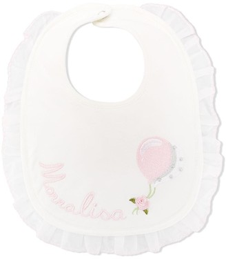 MonnaLisa Logo Embroidered Ruffle Trim Bib
