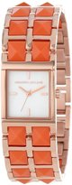 Kenneth Jay Lane Women's KJLANE-1515 1500 Series Mother-Of-Pearl Dial Rose Gold Ion-Plated Stainless Steel and Coral Resin Watch
