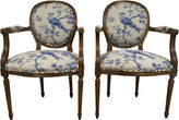 One Kings Lane Vintage French Oak Armchairs in Toile Linen, Pr