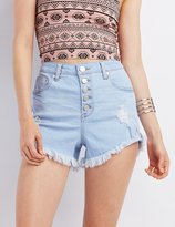 "Charlotte Russe Refuge """"Hi-Rise Cheeky"""" Denim Shorts"