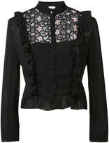 Fleur Du Mal lace insert ruffled blouse - women - Silk/Nylon - M