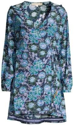 Farah Hooded Floral Wrap Dress