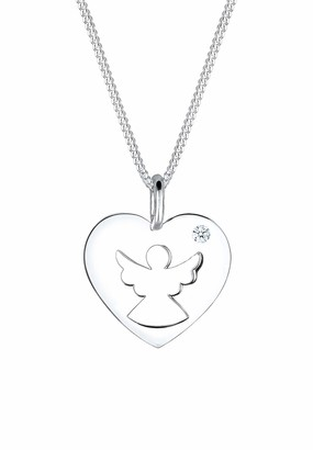 Diamore Women's 925 Sterling Silver 0.03 ct White Diamond Angel Necklace - 45cm length