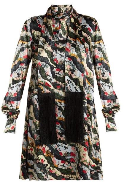 Erdem Gwendoline Keiko Marble Print Silk Dress - Womens - Multi