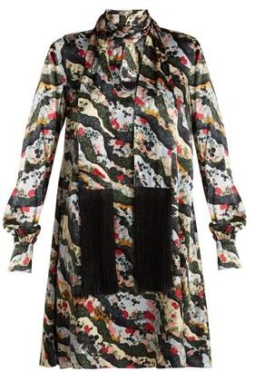 Erdem Gwendoline Keiko Marble-print Silk Dress - Multi