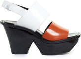 Marni Tri-colour lacquered-wedge sandals