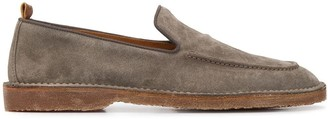 Buttero Almond-Toe Suede Loafers