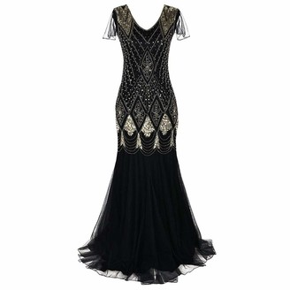 Linkay Ladies 1920s Women Dresses Vintage Lace Party Bead Fringe Sequin Flapper Cocktail Prom Dress Wine