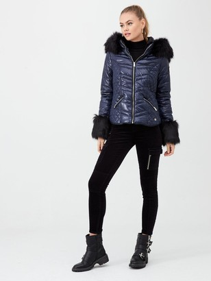 River Island Faux Fur Cuff Padded Jacket - Navy
