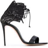Casadei Teatro evening sandals - women - Cotton/Leather - 41