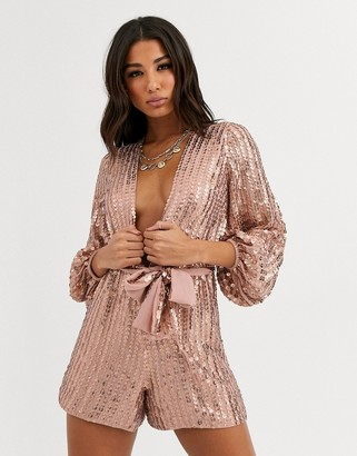 Asos DESIGN tie front playsuit in all over sequin
