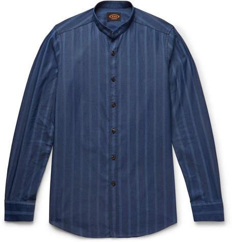 Tod's Grandad-Collar Striped Cotton-Chambray Shirt