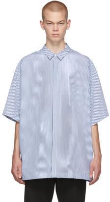 Juun.J Navy and White Pinstripe Short Sleeve Shirt