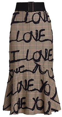 Silvia Tcherassi I Love You Houndstooth Mermaid Skirt