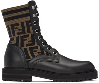 Fendi Black and Brown Forever Lace-Up Boots