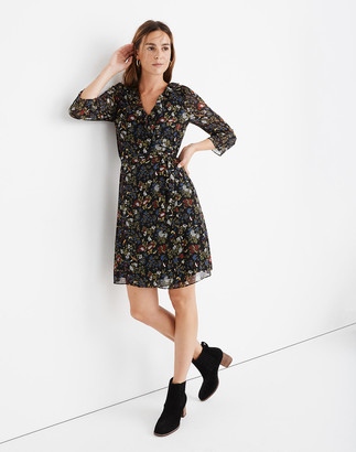 Madewell Sheer-Sleeve Ruffled Wrap Dress in Finch Floral